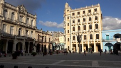 Building with the Camera Obscura tourist attraction at the Plaza Vieja. Havana Stock Footage