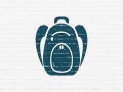 Tourism concept: Backpack on wall background Piirros