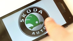 Popular Car Brands List and Logos on smartphone screen Stock Footage