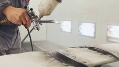Painting parts of sprayer. Stock Footage