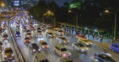 4K Time Lapse : Tilt shift time lapse of highway traffic downtown.. Stock Footage