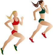 Two women athletes runners Stock Illustration