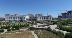 The hotel Aquamarine and Aqua Park Zurbagan in the Victory Park of Sevastopol Stock Footage