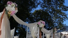 Wedding chairs decoration Stock Footage