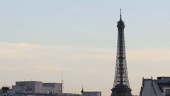 Stunning time lapse shot of the world famous and iconic French Eiffel Tower Stock Footage