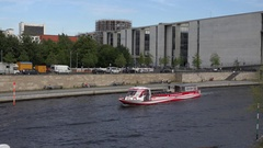 4K Touristic ferry cruise sail on canal river in Berlin downtown naval transport Stock Footage