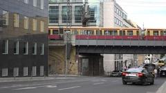 4K Heavy traffic street in Berlin suburban area local train connection journey Stock Footage
