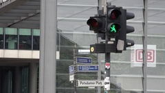 4K Traffic light change color green to red forbidden cross road in Berlin city Stock Footage