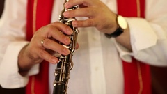 Gypsy musicians clarinet Stock Footage