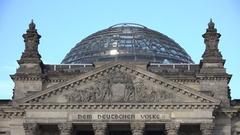 4K Tilt down German parliament building in Berlin national Bundestag landmark Stock Footage