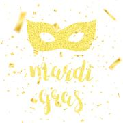 Mardi Gras card. Fat Tuesday gold glitter calligraphy, carnival mask Piirros
