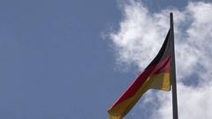 4K Germany flag wave in sunny day national symbol landmark iconic identity proud Stock Footage