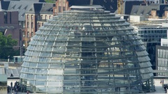 Glass cupola of The Reichstag Building in Berlin - Aerial Stock Footage