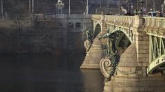 Bridge above River Vltava with pedestrians tourists.  Stock Footage