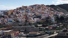 Houses at the hill from the old town of Las Palmas Stock Footage
