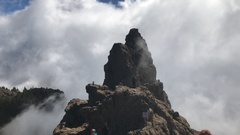 Tourists at Pico de las Nieves Stock Footage