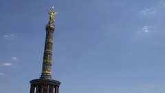 4K Victory Column monument in Berlin town tourism attraction golden decoration Stock Footage