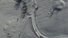 Flatlay aerial view of snowy landscape with hikers snowing in winter in Abruzzo. Stock Footage
