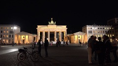 4K Tourist people visit Brandenburg Gate ancient monument in Berlin city emblem Stock Footage