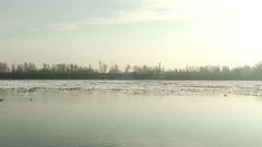 4K Freezeup and Frazil Ice Floating on River on a Freezing Winter Day 1 Stock Footage