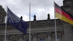 4K German and European union flag wave political coalition alliance sign Berlin Stock Footage
