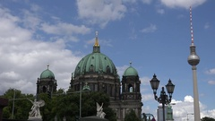 4K Famous Berlin Cathedral and Alex TV Tower spire antenna tourism attraction Stock Footage