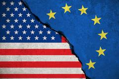 Blue european union EU flag on broken wall and half usa united states of am.. Stock Illustration