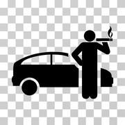 Smoking Taxi Driver Vector Icon Stock Illustration