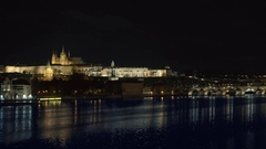 Prague, Czech Republic. Charles Bridge and Hradcany (Prague Castle) with St Stock Footage