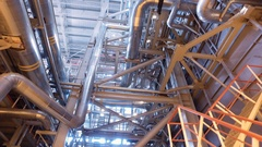 Electric power station. Panorama of the interior of russian heat power plant. 4K Stock Footage