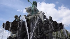 4K Neptune Fountain monument in Berlin urban legend Poseidon statue sculpture Stock Footage