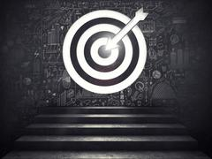 Arrive at a goal of success.the stairs up to a target. 3D Rendering Stock Photos