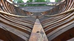 Wooden frame boat, ship. 4K. Stock Footage