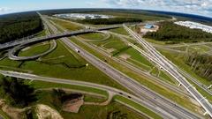 Aerial view. Highway road junction. St. Petersburg Ring Road. 4K. Stock Footage