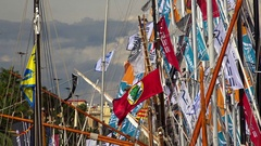 Flags on the yacht, the ship's mast. 4K. Stock Footage