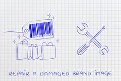 Fixing your brand image, products with wrench & screwdriver Piirros