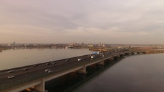 Bridge in Amsterdam with traffic, aerial. Stock Footage