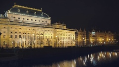 National theatre in the night, Prague Stock Footage