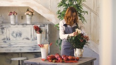 Chef woman preparing flowers, fruits and vegetables for cooking and making fruit Stock Footage