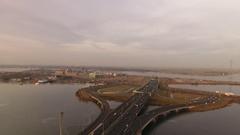 Traffic on road around Amsterdam, aerial. Stock Footage
