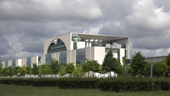 4K Modern Federal Chancellery building in Berlin official office headquarters Stock Footage