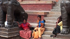 Local people women on streets of Durbar Square Kathmandu Nepal. Stock Footage
