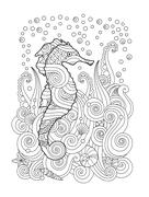 Hand drawn sketch of seahorse under the sea in zentangle inspired style Stock Illustration