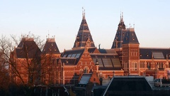 Rijksmuseum close roof with domes, Amsterdam. Stock Footage