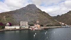 Arriving at the harbour of Santa Cruz de Tenerife Stock Footage