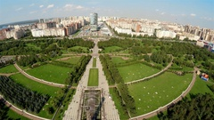 Aerial view. Park of the 300th anniversary of St. Petersburg. 4K. Stock Footage
