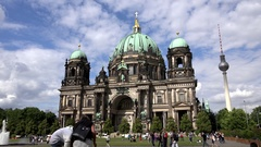 4K Timelapse tourist people visit famous Berlin cathedral building Alex Tower Stock Footage