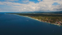 Aerial view beautiful beach on tropical island. Cebu island Philippines Stock Footage