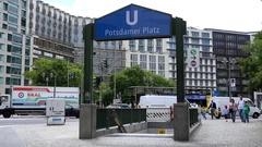 4K Timelapse traffic car and people walk to Potsdamer underground Berlin metro Stock Footage