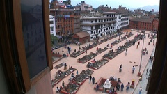 Trade area view from the window on Durbar Square of Kathmandu in Nepal. Stock Footage
